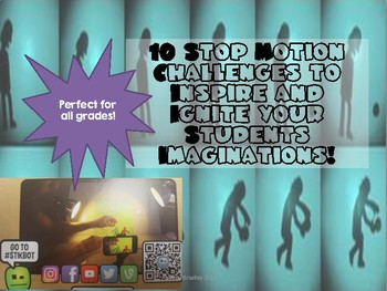 10 Stop Motion Challenge Set Cards- Perfect for Maker Space!