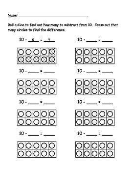 10 Subtraction Roll