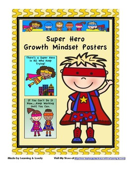 10 Super Hero Growth Mindset Posters