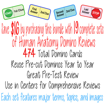 13 Body Systems ~BUNDLE~ DOMINO REVIEW SETS~ Answer Sheets & Keys-  ANATOMY