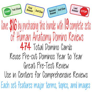 17 SET BUNDLE ~Human Anatomy Domino Reviews~ BODY SYSTEMS~ 426 Cards + Keys