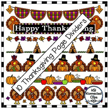 10 Thanksgiving Page Dividers - 3 versions of each design!