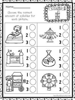 10 Themed How Many Syllables Worksheets.  K-1st Grade Lite