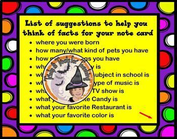 10 Things About Me Notecard Game Back to School Get to Know You Activity