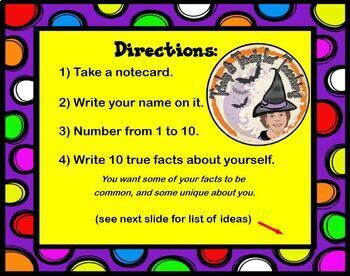 10 Things About Me Notecard Game Back to School Get to Know You Icebreaker