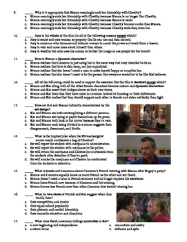 10 Things I Hate about You Film (1999) 30-Question Multiple Choice Quiz