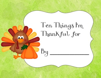 10 Things I'm Thankful For Thanksgiving Book