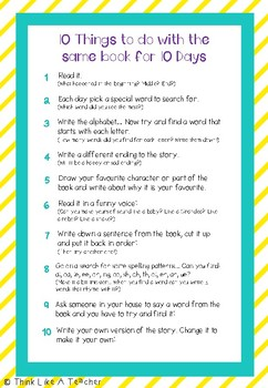 10 Things To Do With The Same Book For 10 Days - Home Reading Resource