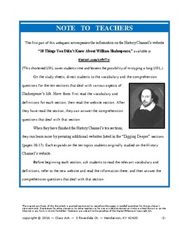 Shakespeare Webquest: 10 Things You Didn't Know (20 p., Ans. Keys, $6)