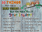 10 Things that Require Zero Talent - Classroom Poster