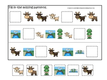 21 Three Billy Goats Gruff themed preschool games and worksheets bundle.