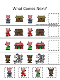 10 Three Little Pigs themed preschool games and worksheets bundle.