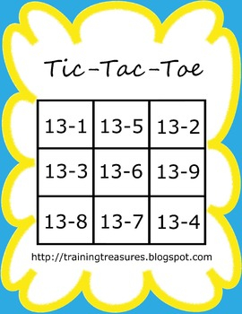 10 Tic-Tac-Toe Subtraction Games- Color AND BW!