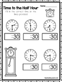 10 Time to the Half Hour Worksheets. Fill in the Correct Time. Preschool-Grade1