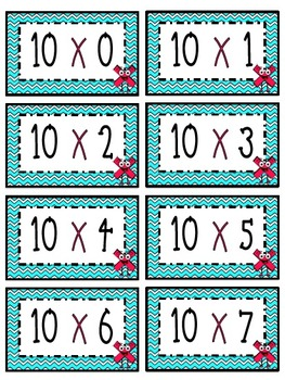 """10"" Times Table Flash Cards"