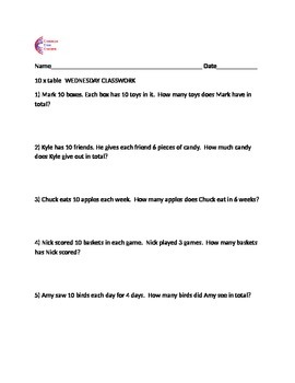 10 Times Table Weekly Classwork, Homework + Assessment w/ Multiplication Chart