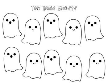 10 Timid Ghosts Printable