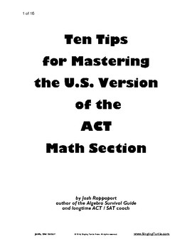 10 Tips for Mastering the U.S. ACT Math Test