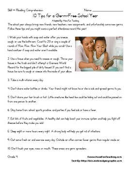 10 Tips for a Germ Free School Year – Reading Comprehension Worksheet