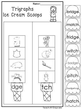 10 Trigraph Ice Cream Scoops Worksheets. Kindergarten-1st Grade ELA.