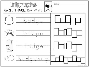 10 Trigraphs Color and Writing Worksheets. Kindergarten-1st Grade ELA.