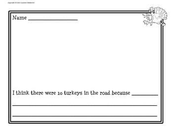 10 Turkeys in the Road Literacy Activities