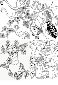 10 Unique Coloring Pages - Relaxation & Fine Motor Skills Practice