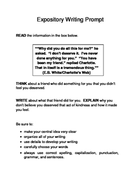 10 Valentine-Themed Expository Prompts Children's Literature 3rd 4th 5th Grades