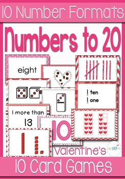 10 Valentines Card Games for Numbers 0-20 with 10 Different Card Formats
