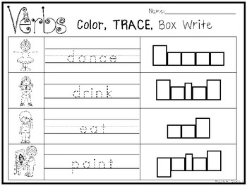 10 Verbs Color and Writing Worksheets. Kindergarten-1st Grade ELA.