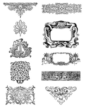 10 Vintage Ornate Elements Clip Art | Frames, Borders, Flourishes | PNG, AI, EPS