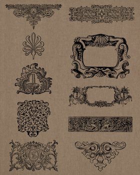 10 Vintage Ornate Elements Clip Art | Frames, Borders, Flourishes | PNG, AI, EPS