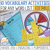 10 Vocabulary Activities for Any Word List with Editable Templates