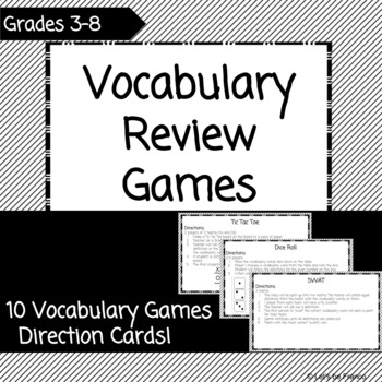 10 Vocabulary Game Direction Cards!