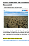10 Ways That Humans Impact The Environment: Research It!!