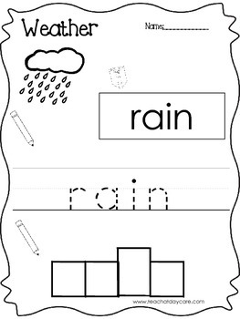 10 Weather themed printable worksheets. Color, Read, Trace, Letter Box Write.