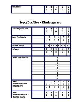 10 Week Elementary Music Unit Tracker K-4 Feierabend First Steps 5 grade levels