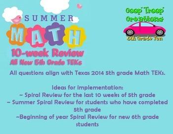 10 Week Summer 5th Grade Math Review - NEW TEKs