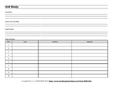 10 Week Unit Study Planning Sheet