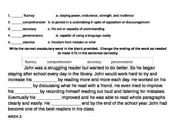10 Weeks of 6th Grade Tier 2 Vocabulary - 1