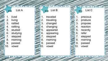4th Grade Differentiated Spelling Lists -Set 2