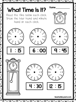 10 What Time Is It Worksheets. Draw the time on the Clocks. Preschool-Grade 1