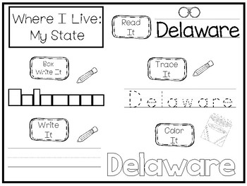 10 Where I Live No Prep Delaware State Name Tracing and Activities. Non-editable