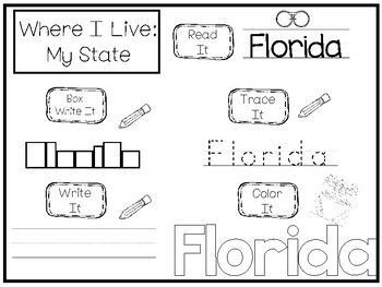 10 Where I Live No Prep Florida State Name Tracing and Activities. Non-editable.