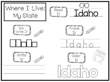 10 Where I Live No Prep Idaho State Name Tracing and Activities. Non-editable.