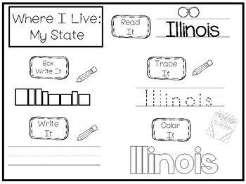 10 Where I Live No Prep Illinois State Name Tracing and Activities. Non-editable
