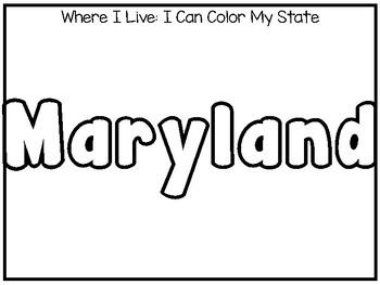 10 Where I Live No Prep Maryland State Name Tracing and Activities. Geography