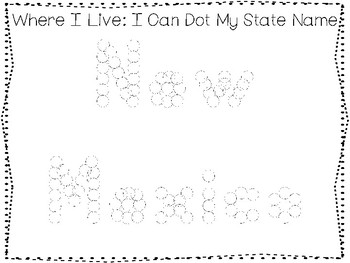 10 Where I Live No Prep New Mexico State Name Tracing and Activities. Geography