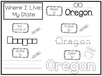 10 Where I Live No Prep Oregon State Name Tracing and Activities. Geography