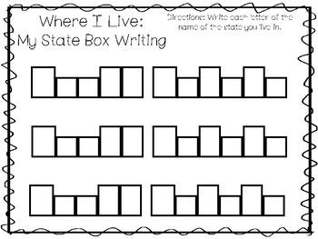 10 Where I Live No Prep South Dakota State Name Tracing and Activities. Geograph